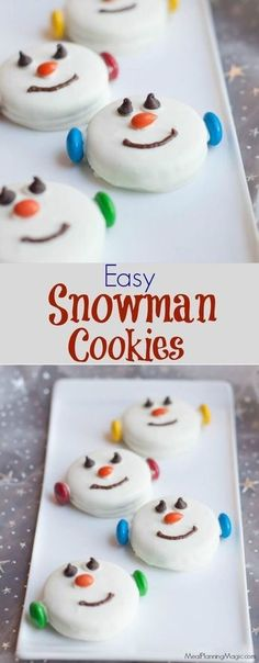 34 Fantastically Festive Christmas Dessert Ideas These Easy Snowman Oreo Cookies are so festive, delicious and great for kids to help make too. A perfect no bake treat option and only a few ingredients, they come together quickly too. Christmas Snacks, Christmas Cooking, Holiday Treats, Holiday Recipes, Christmas Baking For Kids, Christmas Candy, Christmas Goodies, Christmas No Bake Treats, Christmas Decor