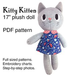 Kitty Kitten cat doll sewing pattern PDF A4 by dearsweetdarlings