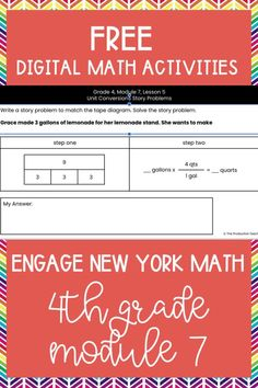 Master the skills taught in Engage New York Math Grade 4 with these FREE digital math activities. These interactive math worksheets are on Google Slides, so you can easily move pieces or fill in blanks to solve 4th grade math problems to review Engage New York Math Grade 4. These are perfect for digital math centers or interactive math worksheets. Best of all? They are FREE at TheProductiveTeacher.com! #engagenewyork #digitalmath #onlinemath #interactivemathworksheets #TheProductiveTeacher Subtraction Activities, Fraction Activities, Math Games, Math Activities, Math Fractions, Multiplication, 4th Grade Math Problems, Division Activities, Eureka Math