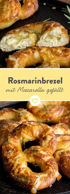 Fluffy rosemary pretzel stuffed with mozzarella and parmesan - Brotzeit - Pizza Recipes Pizza Recipes, Brunch Recipes, Bread Recipes, Snack Recipes, Sandwich Recipes, Mozzarella, Tapas, Pretzel Dough, Party Snacks