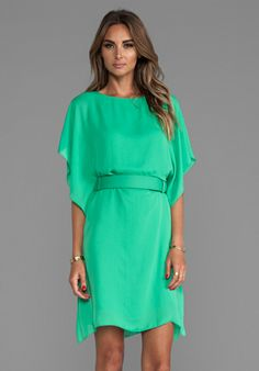 HALSTON HERITAGE Boatneck Belted Dress in Grass - $395