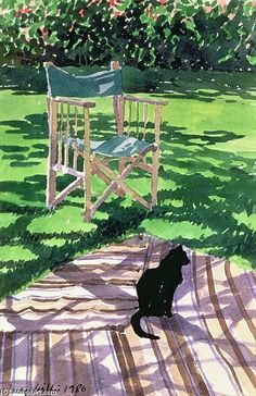 Brilliant light and tone within this watercolour painting - 'Black Cat And Dappling' by Lucy Willis