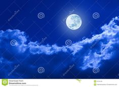 Photo about A full moon glowing in a night sky with clouds. Image of lustrous, lunar, clouds - 9724149