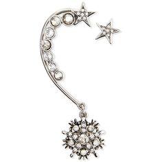 Oscar de la Renta Crystal Stars Ear Cuff & Stud Set ($145) ❤ liked on Polyvore featuring jewelry, earrings, accessories, silver, ear cuffs, oscar de la renta earrings, crystal stone jewelry, earring jewelry, ear cuff earrings and crystal jewelry