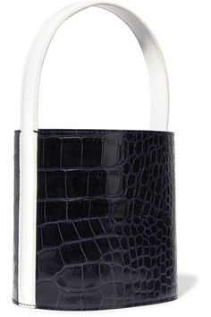 STAUD | Bissett croc-effect and smooth leather bucket bag | NET-A-PORTER.COM