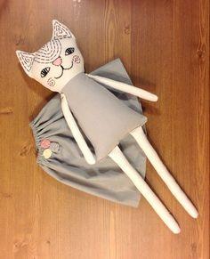 Trapo muñeca gato muñeca hecha a mano suave muñeca OOAK gato