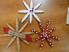 "clothespin snowflakes - one of our ""make and takes"""