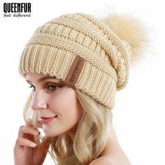 091d36dd519 Women Knit Slouchy Beanie Chunky Baggy Hat with Faux Fur Pompom Winter Soft  Warm  Beanie