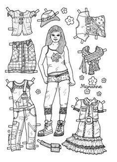 Karen`s Paper Dolls: Marianne 1-6 Paper Doll to colour. Marianne 1-6…