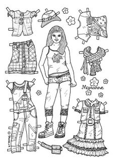 Karen`s Paper Dolls: Marianne 1-6 Paper Doll to colour. Marianne 1-6…