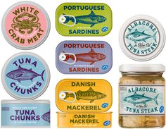Marks & Spencer Canned seafood by Sarah Hingston. Uses images effectively. Basic and easily read type. Colors are distinct and make identifying products quick. As a group they coordinate and contrast each other nicely.