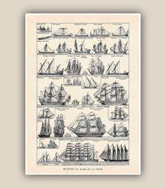 Nautical Print, Vintage sail and row boat images, Seaside Prints, Marine Wall Decor,  Nautical art, Large size A3. $25.00, via Etsy.