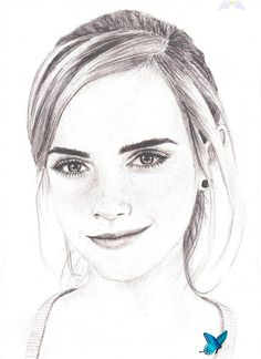 Emma Watson drawing by Bree-Style on DeviantArt Emma Watson drawing by Bree-Style.deviantart.com on @deviantART<br> Easy Portrait Drawing, Girl Drawing Easy, Portrait Sketches, Easy Drawings Sketches, Sketches Of People, Pencil Drawings, Art Drawings, Drawings Of Faces, Awesome Drawings