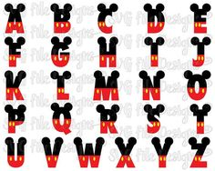 Mickey Mouse Disney Font SVG Cut File Set including SVG, EPS, DXF, JPEG,  and PNG Formats for Cricut, Silhouette, and Brother ScanNCut Cutting  Machines