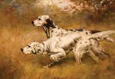 English Setter Pointing | Percival Leonard Rosseau, English Setters on Point | Nine Orchards Art