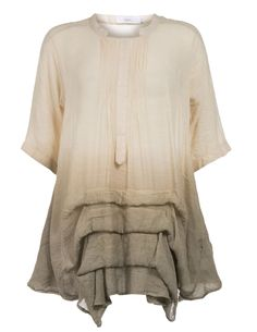 DNY Blouse with tiered hemline in Beige / Sand