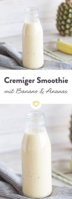 Die Kombination aus Banane, Ananas und Orange schmeckt unwiderstehlich gut und bringt den Sommer in dein Glas. Gute-Laune-Smoothie deluxe!