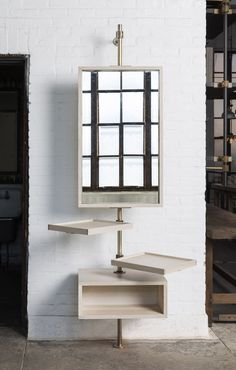 Single Post Loft Shelving System with a Mirror Feature. Perfect for a mud room or tight spaces. Shelves fully adjustable and swivel friendly!