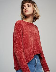 Pull&Bear - woman - clothing - knit - rounded hem chenille sweater - pink - 05557333-V2017