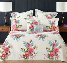 Inspired by an English garden, Winifred Set by features a glowing floral design printed on a luxurious easy care fabric. Latest Bed, Comfy Bed, Linen Bedding, Bed Linen, Quilt Cover, Bed Spreads, Bed Sheets, Duvet Covers, Room Decor
