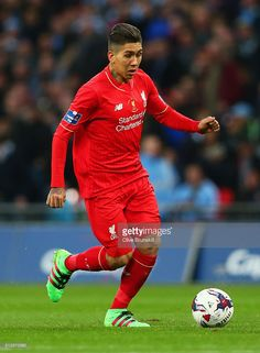 Roberto Firmino of Liverpool in action during the Capital One Cup Final match between Liverpool and Manchester City at Wembley Stadium on February 28, 2016 in London, England.