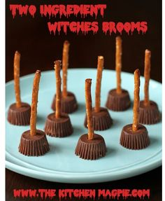 Two ingredient witches brooms. All you need is Reese's minis and pretzels.