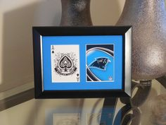 Carolina Panthers 5x7 Blackjack Spades Authentic Playing Card Display by SinCityDisplays on Etsy