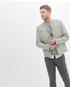 Image 1 of FAUX LEATHER JACKET WITH PADDED SHOULDERS from Zara