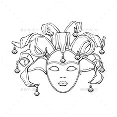 Decorated Venetian carnival, jester mask with bells and glitter, sketch style vector illustration isolated on white background. Realistic hand drawing of carnival, Venetian mask with bells Illustration , Jester Mask, Gravure Laser, Mask Drawing, Venice Mask, Venetian Carnival Masks, Drawing Sketches, Drawings, Masks Art, Illustration