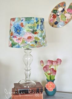 How to paint an artist's palette-inspired floral lampshade… (Jennifer Rizzo) Floral Lampshade, Fabric Lampshade, Lampshades, Painted Lampshade, Lampshade Ideas, Cover Lampshade, Fabric Chandelier, Lampshade Designs, Jar Chandelier