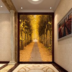 1x3m non woven 3d entrance mural wallpaper gold forest avenue papel parede wallpaper roll -inWallpapers from Home & Garden on Aliexpress.com | Alibaba Group