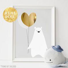 Grey Baby Nursery Art Gold Silver Rose Gold by RainAndPaperPrints