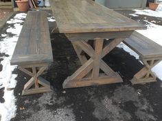 X Base Farmhouse Table And Benches   DIY Projects