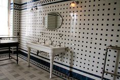 Sink on two pedestal feet from the bathroom in the Nissim Camondo residence in Paris.