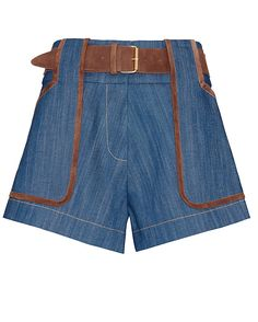 Derek Lam 10 Crosby EXCLUSIVE Belted Denim Shorts: An elevated denim short look with contrast brown suede trim at the two pockets and buckled belt. Zipper/hook closures. In chambray.   Fabric: 98% cotton/2% polyurethane Trim: 100% lamb leather  Made in China.   Model Measurements: Height 5'10 1/2; Waist ...