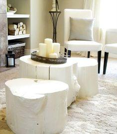 Tree Stump Table- White - 7 Amazing DIY Log Ideas