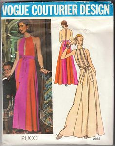 Vogue Couturier Design Pattern 2958 Pucci Evening Dress Size 12 with Label From VirtualVintage on Etsy