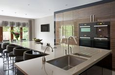 Supreme Kitchen Remodeling Choosing Your New Kitchen Countertops Ideas. Mind Blowing Kitchen Remodeling Choosing Your New Kitchen Countertops Ideas. One Wall Kitchen, Kitchen Island With Sink, New Kitchen, Awesome Kitchen, Kitchen Dining, Sink On Island, Kitchen Island Sink, L Shaped Island Kitchen, Kitchen Feature Wall