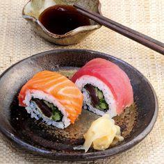 Regenbogen-Sushi mit Lachs und Thunfisch - Sushi Rezepte
