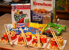 """Candy """"sushi"""" - School treat for a gluten, dairy, nut-free classroom!  Be sure to use brown rice cereal because Rice Krispies are NOT gluten-free."""