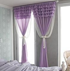 Light purple voile curtains #curtains #windowtreatments