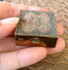Antique Pill Box Brass with Floral Embroidery by MeFoundit on Etsy