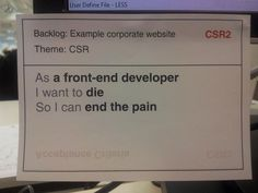 Front-end user story