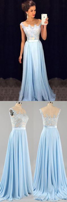 Affordable Scoop Neck Blue Chiffon Ball Dresses