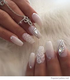 Glam wedding long nails