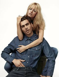 Camille Rowe Pourcheresse for Mavi with Jo Kortajarena  http://blog.justwm.com/2012/07/30/camille-rowe-pourcheresse-and-jon-kortajarena-for-mavi-usa-styled-by-nicola-formichetti/