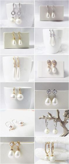 Won't these pearl wedding earrings look perfect on your special day? A range of bridal pearl earrings designs that are perfect for the bride and also perfect to give as gifts to your bridesmaids or as a mother of the bride gift.