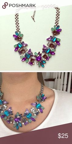 ❣RESTOCK❣ Blue Purple Crystal Statement Necklace Brand new! All jewelry is buy 2 get 1 free, just comment on the 3 (or 6 to get 2 free!) and I can create the bundle for you! Jewelry Necklaces