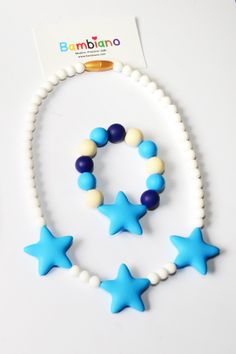 Bambiano Nicole Jr Necklace and Bracelet Gift Set  in Deep Sea Blue. Bambiano Jr Necklaces  and bracelets are made of 100% Food grade silicone. BPA free, Lead free and nontoxic. Fashionable for trendy girls 3 years and above. Necklaces are colourful, washable and soft against the skin. Shop at www.bambiano.com