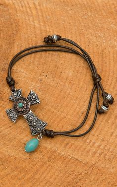 Two Tone Cross Adjustable Brown Leather Cord Bracelet   Cavender's